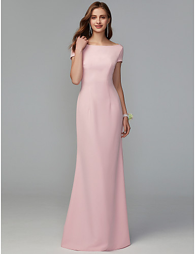 cheap Free Shipping-Sheath / Column Scoop Neck Floor Length Jersey Bridesmaid Dress with Criss Cross / Draping / Open Back