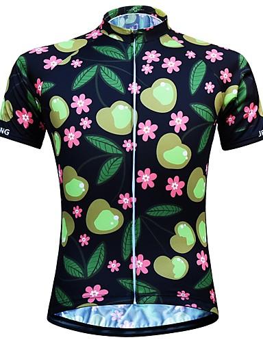 povoljno Biciklizam-JESOCYCLING Žene Kratkih rukava Biciklistička majica Crn Cvjetni / Botanički Bicikl Biciklistička majica Majice Brdski biciklizam biciklom na cesti Prozračnost Ovlaživanje Quick dry Sportski 100