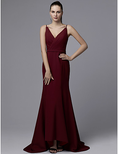 65b83335c27 Mermaid   Trumpet V Neck Sweep   Brush Train Jersey Beautiful Back Formal  Evening Dress with Sash   Ribbon   Ruched by TS Couture® 7006847 2019 –   99.99