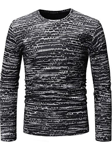 preiswerte Einfarbig-Herrn Einfarbig / Grafik - Grundlegend Klub Baumwolle T-shirt, Rundhalsausschnitt Druck Schwarz / Langarm