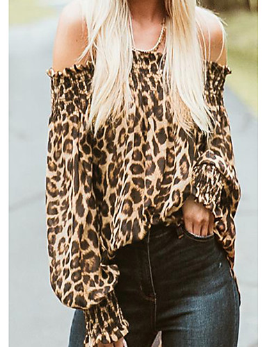 billige Dametopper-Løse skuldre T-skjorte Dame - Leopard, Drapering / Trykt mønster Gatemote Brun / Vår / Sommer / Høst / Vinter