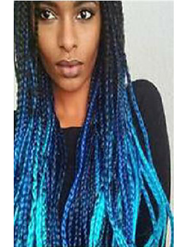 preiswerte Premium Perücken aus synthetischer Spitze-Synthetische Lace Front Perücken Dreadlocks / Faux Locs Geflochten Stufenhaarschnitt Geflecht Spitzenfront Perücke Lang Schwarz / blau Synthetische Haare 24 Zoll Damen Damen Gefärbte Haarspitzen