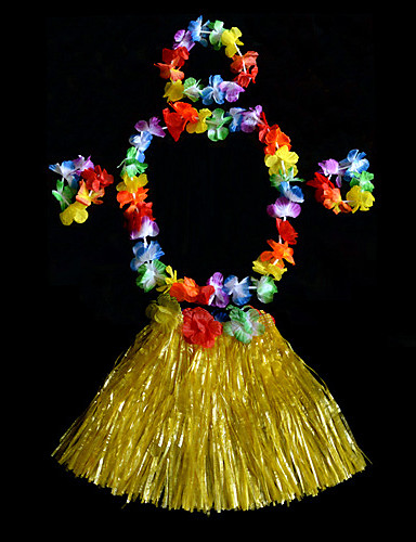 povoljno Maske i kostimi-Havajski Hula plesačica Dječji Dječaci Djevojčice Aktivan Havajski kostimi Za PVC Cvjetni print Božić Halloween Karneval Suknje Šeširi Neckwear