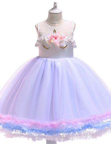 preiswerte Unicorn Dresses-Kinder Mädchen Aktiv Süß Party Festtage Unicorn Patchwork Ärmellos Knielang Kleid Rosa