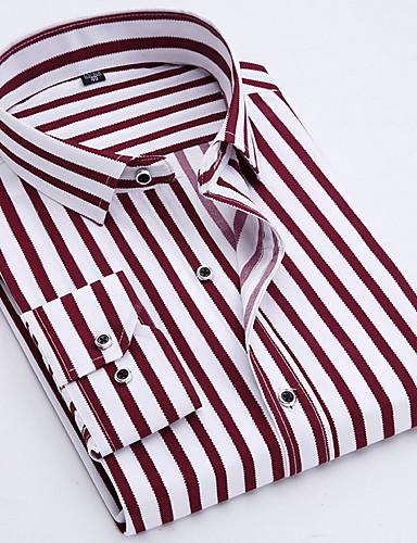 voordelige Uitverkoop-Heren Zakelijk / Standaard Print Overhemd Katoen, Werk Gestreept Spread boord Slank blauw / Lange mouw / Lente / Herfst