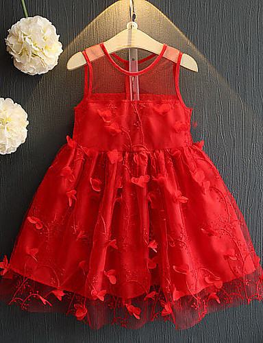 Djeca Djevojčice slatko Ulični šik Dnevno Izlasci Jednobojni Kolaž Mrežica Kolaž Bez rukávů Haljina Red
