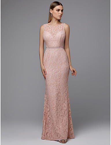 34fb4ac7a64 Sheath   Column Jewel Neck Floor Length Lace Prom Dress with Sash ...