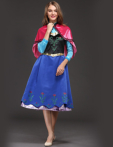 cheap Movie & TV Theme Costumes-Anna Cosplay Costume Adults' Women's Dresses Christmas Halloween Carnival Festival / Holiday Velour Satin Blue Carnival Costumes Princess