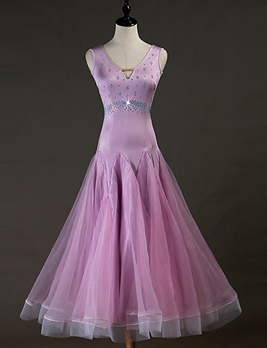 voordelige Shall We®-Ballroomdansen Jurken Dames Prestatie Spandex Kristallen / Bergkristallen Mouwloos Kleding