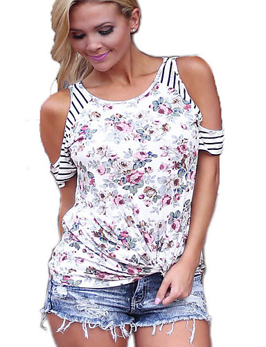 billige Dametopper-T-skjorte Dame - Blomstret, Stripe / Blomster / Blomster stil Gatemote Hvit / Vår / Sommer / Høst / Vinter / Trykt mønster