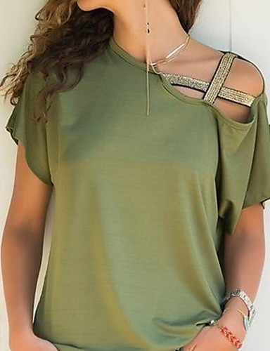 billige Dametopper-Løstsittende Båthals T-skjorte Dame - Ensfarget, Løse skuldre / Hul Fuksia