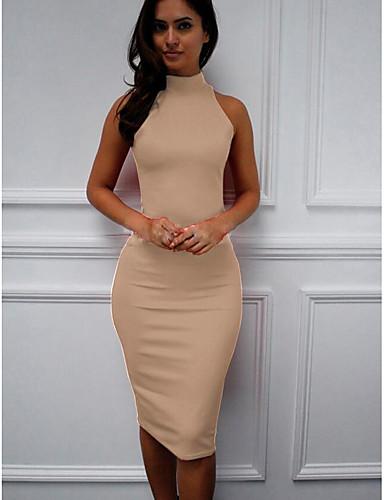 levne Šaty velkých velikostí-Dámské Štíhlý Shift Šaty - Jednobarevné, Sexy Štíhlý Midi