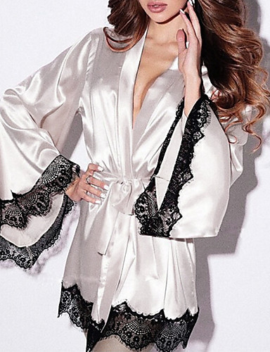 cheap Pajamas&Robes-Women's Lace Sexy Robes / Satin & Silk Nightwear Patchwork Black White Purple S M L/StayCation
