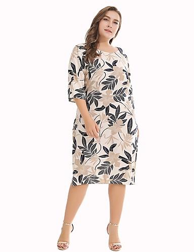 levne Šaty velkých velikostí-Dámské Větší velikosti Cikánský Bavlna Volné Shift Šaty - Květinový, Tisk Délka ke kolenům