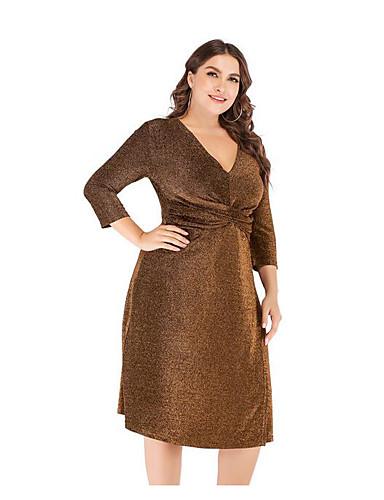 levne Šaty velkých velikostí-Dámské Štíhlý A Line Šaty - Jednobarevné, Třásně Midi Do V