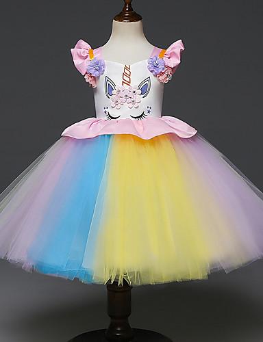 preiswerte Unicorn Dresses-Baby Mädchen Grundlegend Unicorn Solide Tier Ärmellos Kleid Weiß