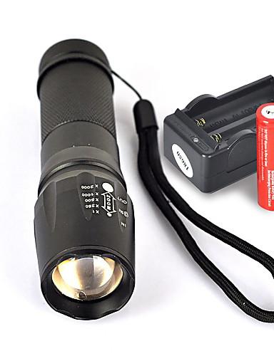 billige tilbud Oprydningsudsalg-UltraFire W-878 LED Lommelygter 1800 lm LED LED 1 Sendere 5 Lys Tilstand med batterier og oplader Glidesikkert Greb Camping / Vandring / Grotte Udforskning Dagligdags Brug Cykling EU Stik AU Stik UK