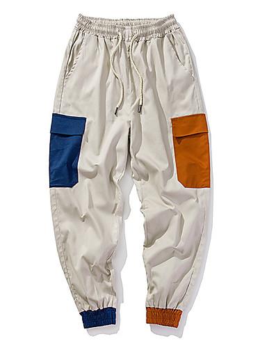 Muškarci Ulični šik Dnevno Chinos / Cargo hlače Hlače - Color block Crn Žutomrk XL XXL XXXL