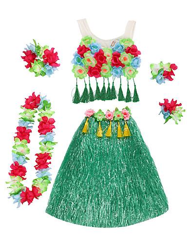 povoljno Maske i kostimi-Havajski Hula plesačica Odrasli Žene Vintage inspirirano Havajski kostimi Grass suknja Za Posteljina / pamuk Blend Najlon Tactel Cvjetni print Božić Halloween Karneval Suknje Mellény Šeširi