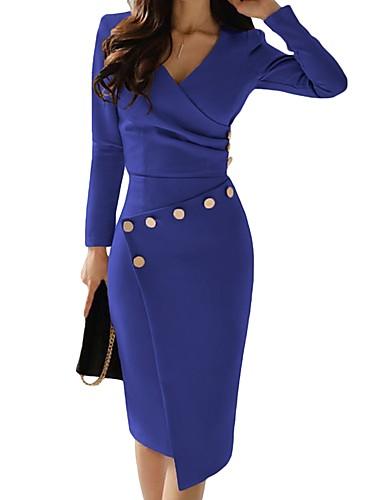 levne Pracovní šaty-Dámské Vypasovaný Bodycon Šaty - Jednobarevné, Wrap Délka ke kolenům / Do V / Práce / Sexy