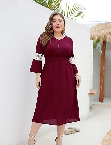 levne Šaty velkých velikostí-Dámské Štíhlý A Line Šaty - Jednobarevné, Síťka Midi