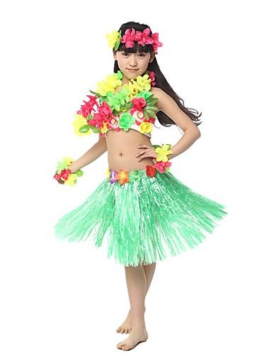 povoljno Maske i kostimi-Havajski Hula plesačica Odrasli Djevojčice Etnikai Vintage inspirirano Havajski kostimi Grass suknja Za Posteljina / pamuk Blend Polyster Cvjetni print Božić Halloween Karneval Suknje Top
