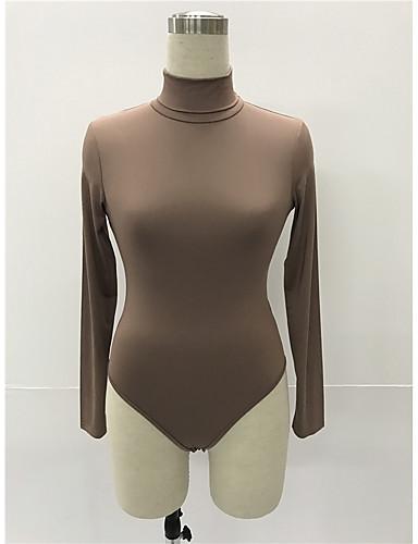 billige Topper til damer-Bomull Tynn Rullekrage Body Dame - Ensfarget, Utskjæring Grunnleggende Militærgrønn