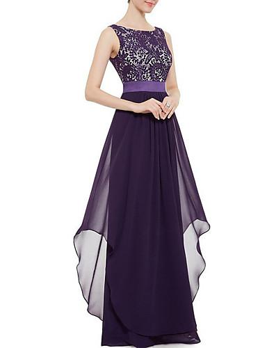 levne Maxi šaty-Dámské Párty Jdeme ven Elegantní Swing Šaty - Jednobarevné, Krajka Maxi / Sexy