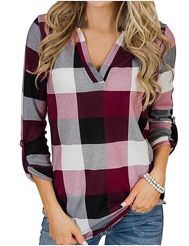 billige Skjorter til damer-Tynn Skjortekrage Skjorte Dame - Fargeblokk Rød