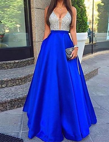 levne Maxi šaty-Dámské Sexy A Line Šaty - Jednobarevné, Volná záda Flitry Maxi Lodičkový / Párty
