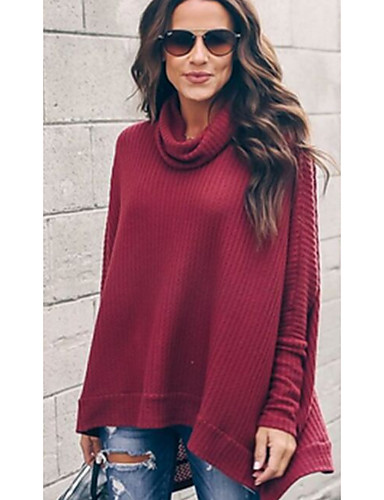 billige Dametopper-Løstsittende Rullekrage T-skjorte Dame - Fargeblokk Svart