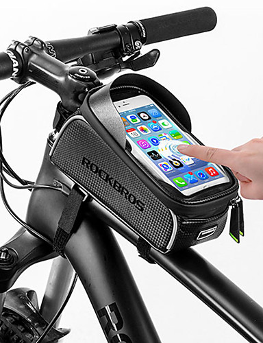 cheap Cycling Accessories Best Sellers-ROCKBROS Cell Phone Bag Bike Frame Bag Top Tube 6 inch Touch Screen Reflective Waterproof Cycling for All Phones iPhone X iPhone XR Black Road Bike Mountain Bike MTB / iPhone XS / iPhone XS Max