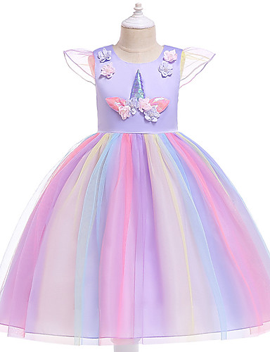 preiswerte Unicorn Dresses-Kinder Mädchen Aktiv Süß Party Festtage Unicorn Patchwork Kurzarm Knielang Kleid Rosa