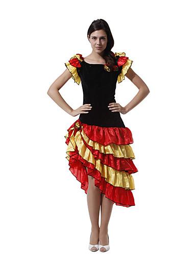 billige Danseklær-Spansk Lady Kjoler Voksne Dame Flamenco Halloween Karneval Maskerade Festival / høytid Tyll Polyester Svart Dame Karneval Kostumer Lapper