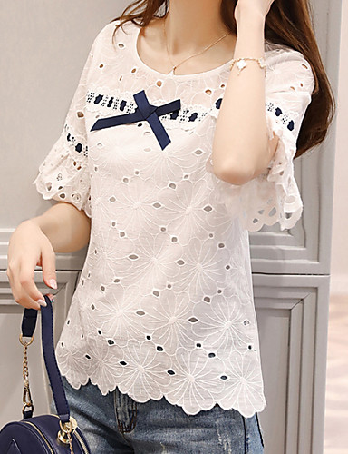 billige T-skjorter til damer-U-hals T-skjorte Dame - Geometrisk / Fargeblokk, Vintage Stil / Hul Hvit / Vår / Sommer / Høst