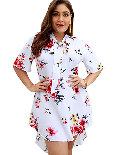 levne Šaty velkých velikostí-Dámské Plážové Elegantní Pouzdro Šaty - Květinový, Tisk Nad kolena Do V / Sexy
