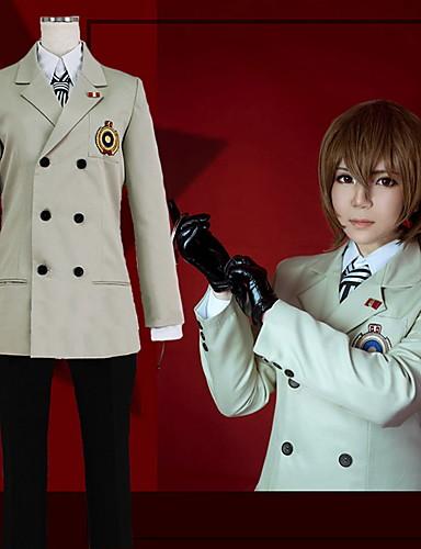 povoljno Anime cosplay-Inspirirana Persona 5 Cosplay / Goro Akechi Anime Cosplay nošnje Japanski School Uniforms Jednobojni / Uglađeni Kaput / Bluza / Top Za Muškarci / Žene / Rukavice