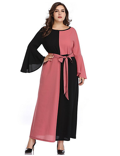 voordelige Grote maten jurken-Dames Schede Jurk - Kleurenblok, Strik V-hals Maxi / Sexy