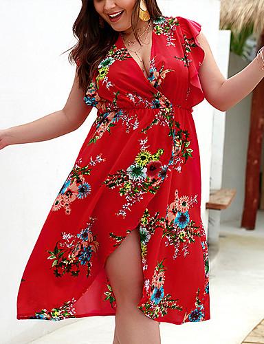 levne Šaty velkých velikostí-Dámské Větší velikosti Plážové Elegantní Shift Tunika Šifón Šaty - Květinový, Volány Květinový Tisk Nad kolena Hluboké V / Sexy