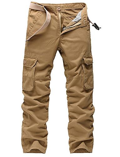 preiswerte Herrenhosen und Shorts-Herrn Grundlegend / Militär Übergrössen Alltag Chinos / Frachthosen Hose - Solide Grau Armeegrün Khaki 34 36 38