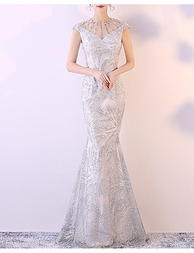 8306d6f8fe8 Mermaid   Trumpet Jewel Neck Floor Length Tulle   Sequined Formal Evening  Dress with Beading   Sequin   Crystals by LAN TING Express 7097181 2019 –   99.99