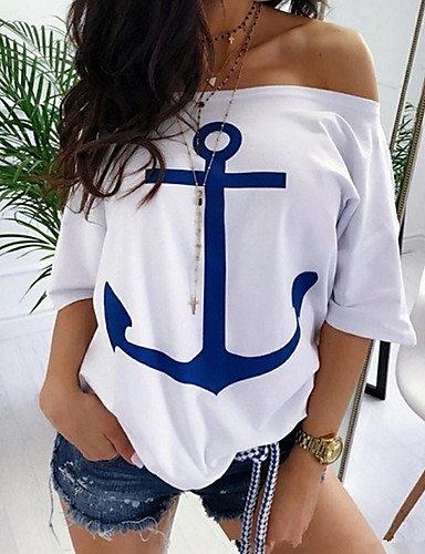 billige T-skjorter til damer-Løse skuldre Store størrelser T-skjorte Dame - Geometrisk / Fargeblokk Hvit / Vår / Sommer / Høst