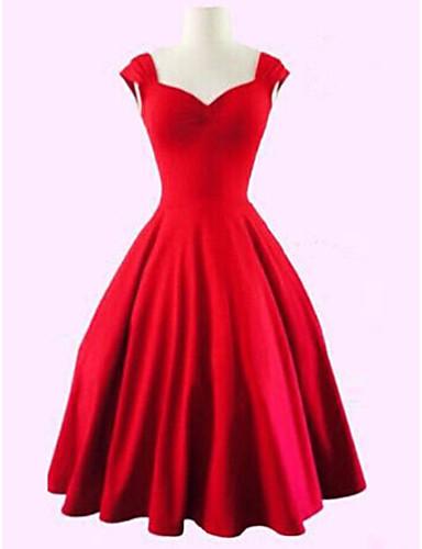 voordelige Sexy jurken-Dames Grote maten Feest Vintage Katoen A-lijn Jurk - Effen Sweetheart Tot de knie Zwart