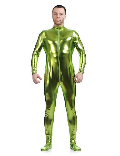 povoljno Maske i kostimi-Sjajna zentai odijela Odijelo za kožu Ninja Odrasli Spandex Lateks Cosplay Nošnje Spol Muškarci Žene Crn / Zlatan / purpurna boja Jednobojni Halloween / Visoka elastičnost