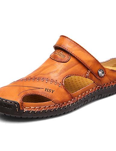 cheap Men's Shoes Hot Sale-Men's Comfort Shoes Spring / Summer Casual Beach Sandals Walking Shoes Cowhide Breathable Dark Brown / Brown / Black