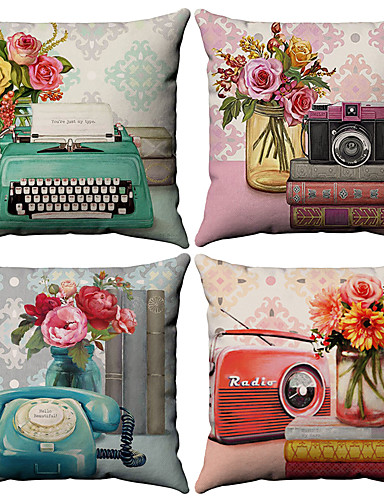 cheap Cushion Covers-Set of 4 Cotton / Linen Pillow Cover, Floral Pattern Floral Print Flower Patterned Throw Pillow