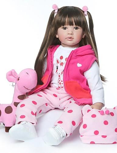 preiswerte Spielzeuge & Spiele-NPKCOLLECTION NPK-PUPPE Lebensechte Puppe Mädchen Puppe Baby Mädchen 24 Zoll lebensecht Neues Design Künstliche Implantation Braune Augen Kinder Mädchen Spielzeuge Geschenk