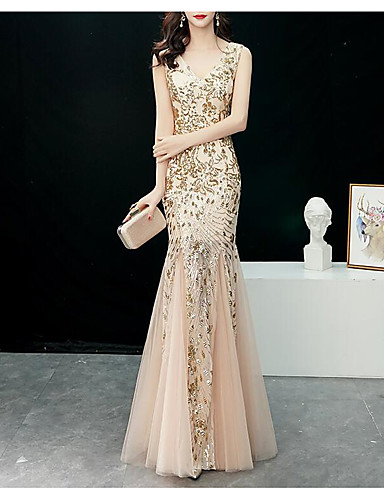 90656f6830d Mermaid   Trumpet V Neck Floor Length Tulle   Sequined Formal Evening Dress  with Sequin   Crystals by LAN TING Express  07107090