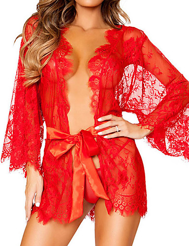 cheap Lingerie-Normal Polyester Robes Sexy Solid Colored Wedding Lace