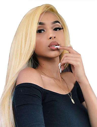 preiswerte Blonde Lace Wigs-Unbehandeltes Haar Vollspitze Perücke Minaj Stil Brasilianisches Haar Glatt Blond Perücke 130% Haardichte 12-22 Zoll mit Babyhaar Beste Qualität Schlussverkauf mit Clip Damen Mittlerer Länge Echthaar